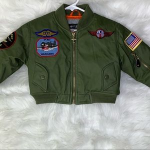 Army Green Bomber Jacket Military Patches Size 2T